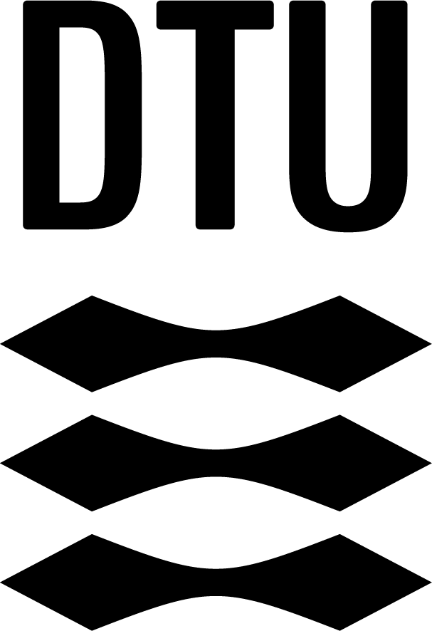Logo of the Technical University of Denmark. DTU in Black